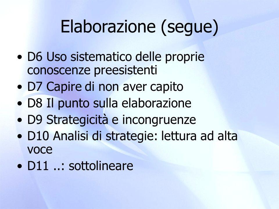 Elaborazione (e strategie) D12: Pensare e immaginare quando si studia D13: Scrivere quando si studia D14: Ripassare