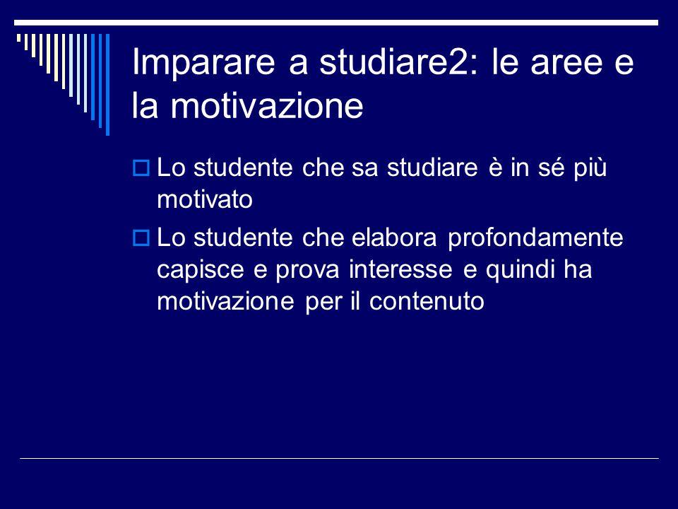Imparare a studiare2: le aree della motivazione  Le aree del programma che hanno un rapporto diretto con la Motivazione sono:  A: Motivazione allo studio  Z: Attribuzione e impegno
