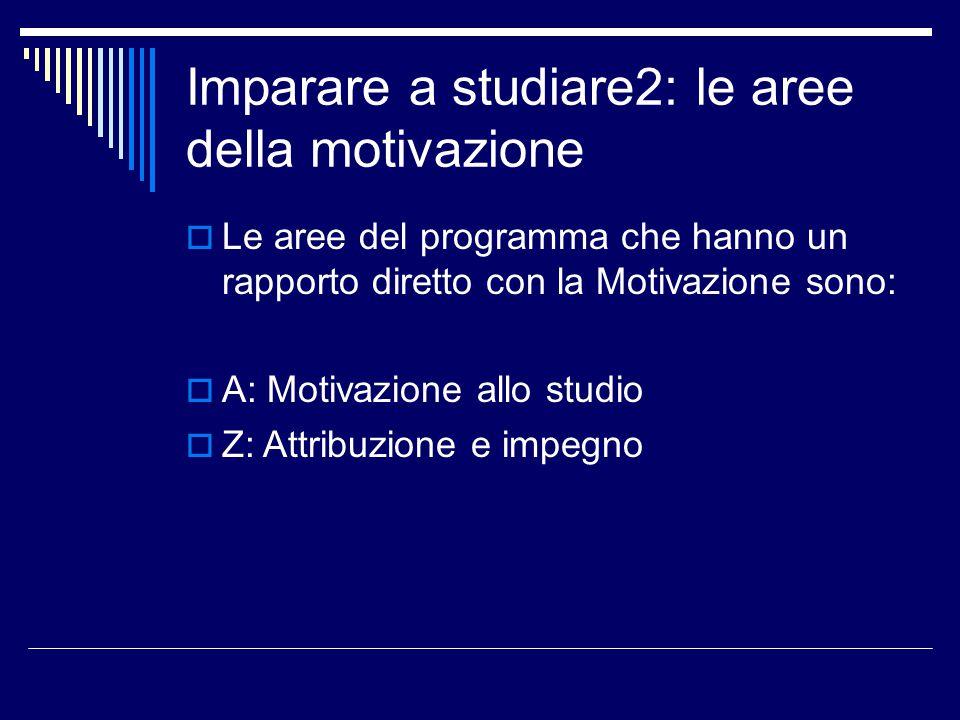 Imparare a studiare2: le aree della motivazione  Le altre aree della Parte Quarta coinvolgono la motivazione: S: rapporto con i compagni T: rapporto con gli insegnanti U: ansia scolastica V: atteggiamento verso la scuola