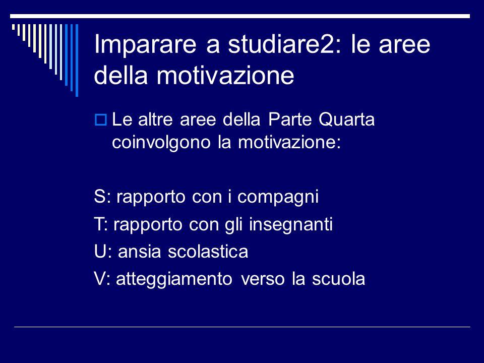 Area A: Motivazione allo studio  A1 Che cos' è la motivazione  A2 Valuta la tua motivazione  A3 Non avere interesse per l'attività scolastica  A4 Trovare ragioni motivanti per il conseguimento del titolo di studio  A5 Trovare ragioni motivanti per lo studio