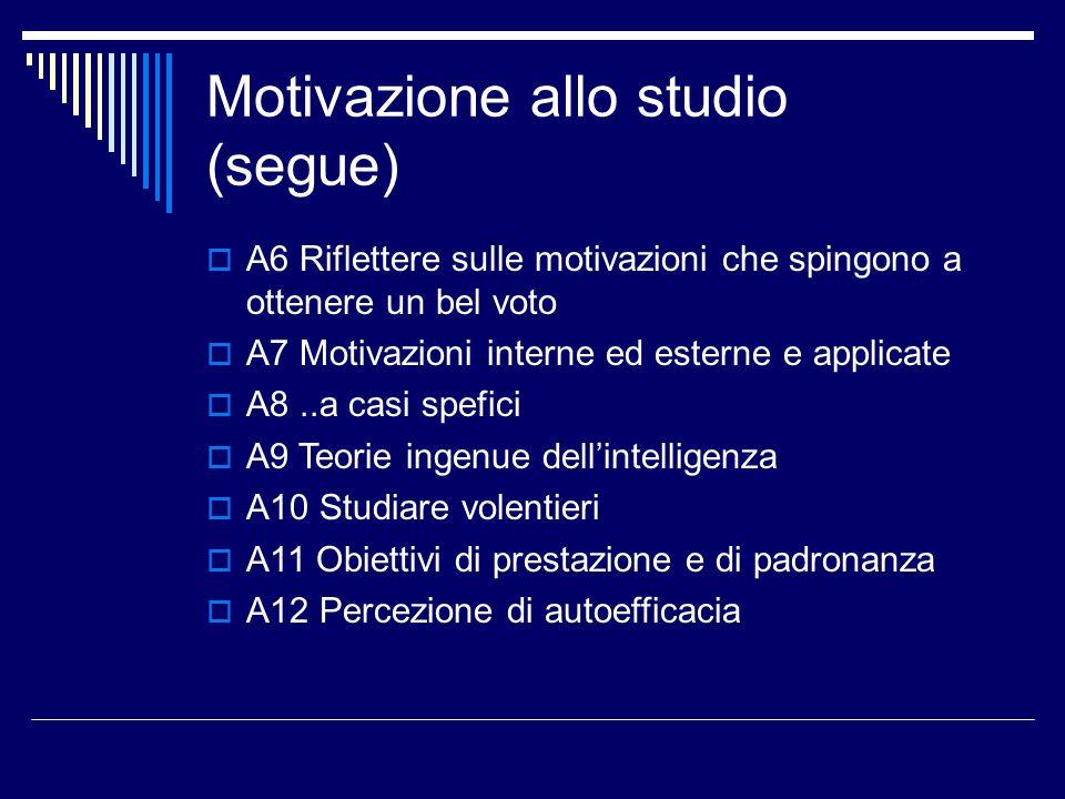 Area Z: Attribuzione e impegno  Z1 Importanza di riflettere su successi, ma anche su insuccessi  Z2 Perché non si riesce.