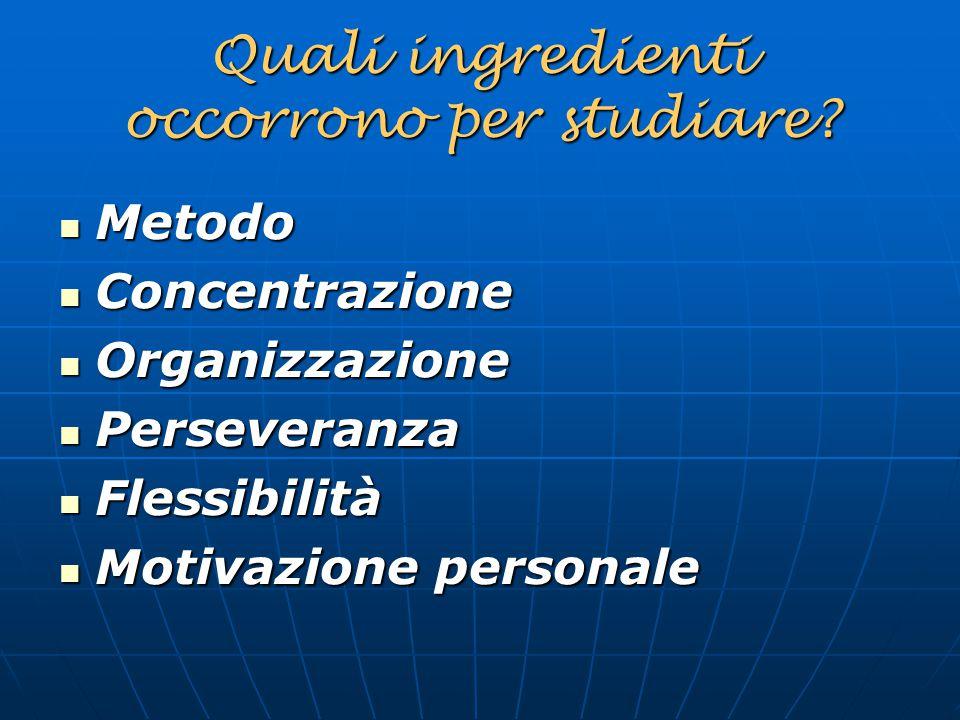 Quali ingredienti occorrono per studiare? Metodo Metodo Concentrazione Concentrazione Organizzazione Organizzazione Perseveranza Perseveranza Flessibi
