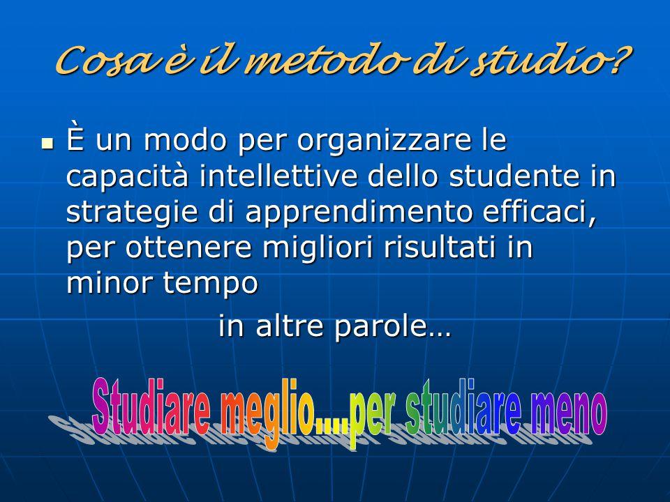 Cosa è il metodo di studio? È un modo per organizzare le capacità intellettive dello studente in strategie di apprendimento efficaci, per ottenere mig