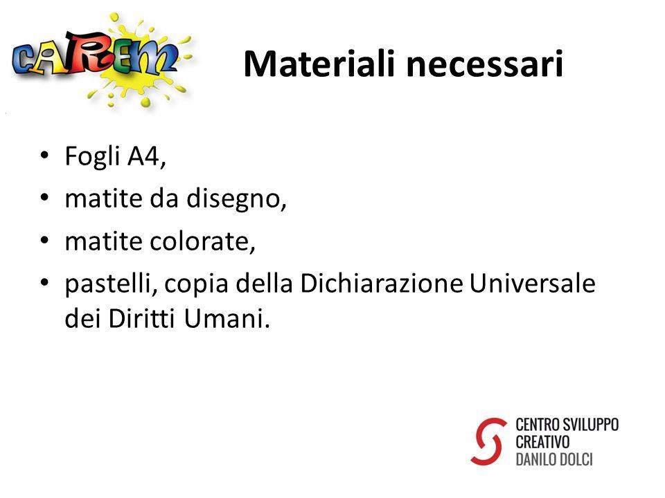 Materiali necessari Fogli A4, matite da disegno, matite colorate, pastelli, copia della Dichiarazione Universale dei Diritti Umani.
