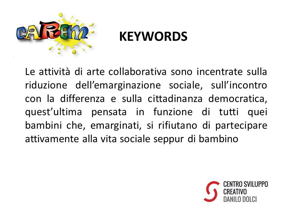 KEYWORDS Le attività di arte collaborativa sono incentrate sulla riduzione dell'emarginazione sociale, sull'incontro con la differenza e sulla cittadinanza democratica, quest'ultima pensata in funzione di tutti quei bambini che, emarginati, si rifiutano di partecipare attivamente alla vita sociale seppur di bambino
