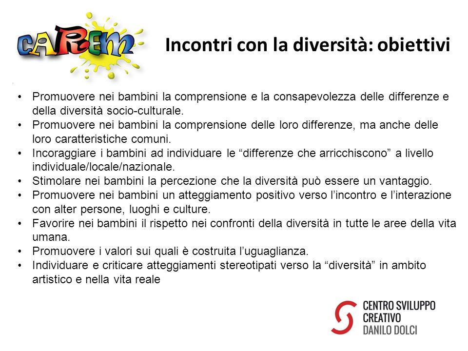 Incontri con la diversità: obiettivi Promuovere nei bambini la comprensione e la consapevolezza delle differenze e della diversità socio-culturale.