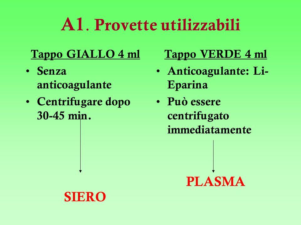 A1. Provette utilizzabili Tappo GIALLO 4 ml Senza anticoagulante Centrifugare dopo 30-45 min. SIERO Tappo VERDE 4 ml Anticoagulante: Li- Eparina Può e