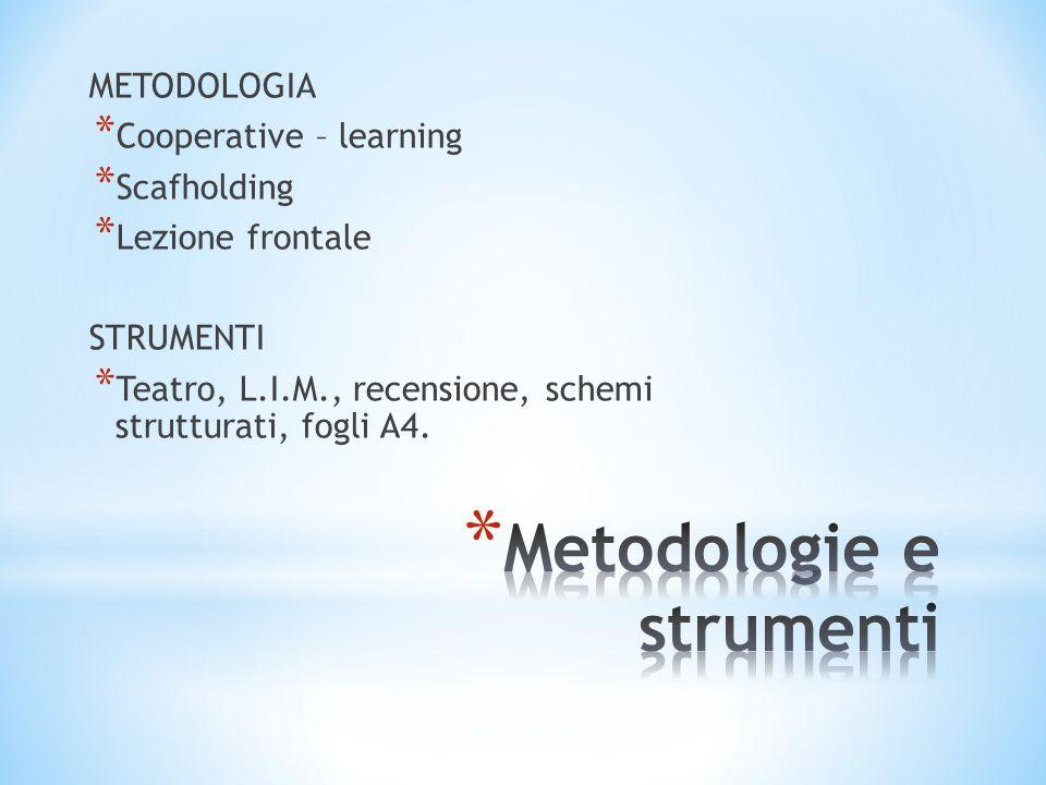 METODOLOGIA * Cooperative – learning * Scafholding * Lezione frontale STRUMENTI * Teatro, L.I.M., recensione, schemi strutturati, fogli A4.