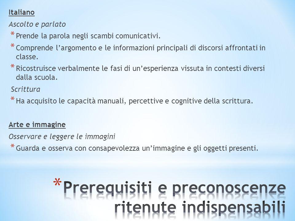 Italiano Ascolto e parlato * Prende la parola negli scambi comunicativi. * Comprende l'argomento e le informazioni principali di discorsi affrontati i