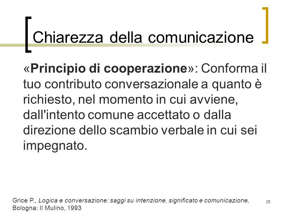 Chiarezza della comunicazione «Principio di cooperazione»: Conforma il tuo contributo conversazionale a quanto è richiesto, nel momento in cui avviene