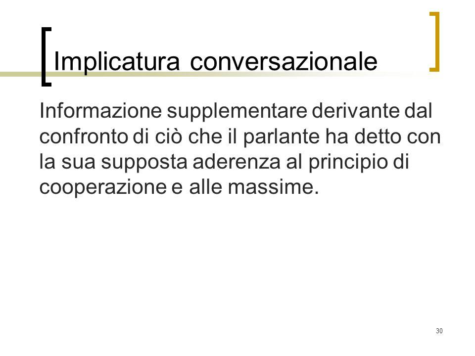 Implicatura conversazionale Informazione supplementare derivante dal confronto di ciò che il parlante ha detto con la sua supposta aderenza al princip
