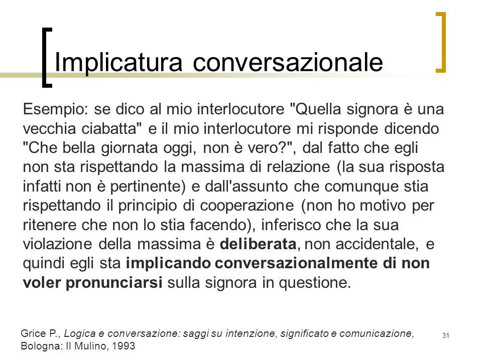 Implicatura conversazionale Esempio: se dico al mio interlocutore