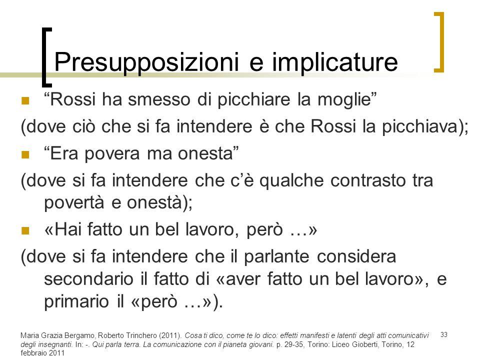 """Presupposizioni e implicature """"Rossi ha smesso di picchiare la moglie"""" (dove ciò che si fa intendere è che Rossi la picchiava); """"Era povera ma onesta"""""""