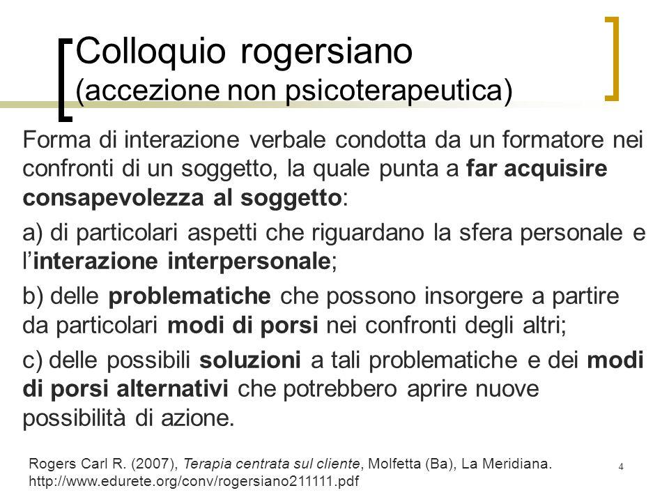 Colloquio rogersiano (accezione non psicoterapeutica) Forma di interazione verbale condotta da un formatore nei confronti di un soggetto, la quale pun