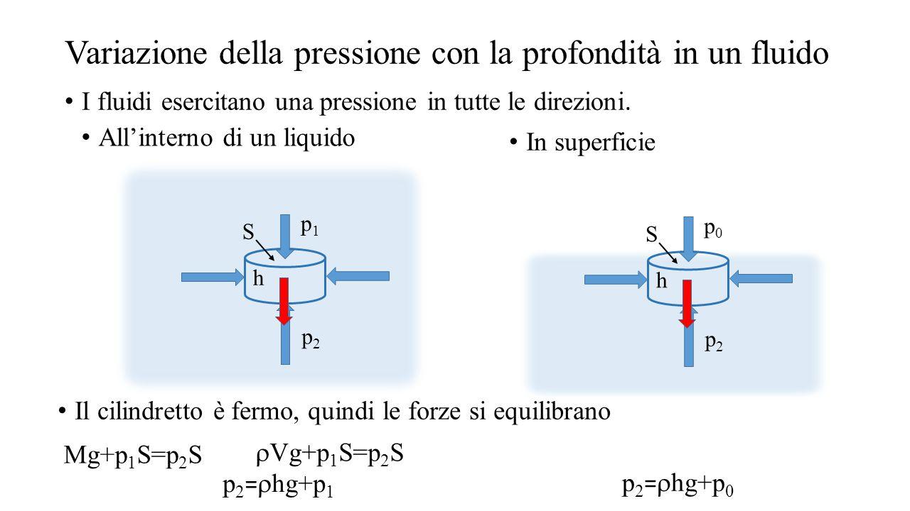 Legge di Stevino h p0p0 p2p2 S p 2 =  zg+p 0 zz A p 2 -p 0 =  zg La pressione aumenta all'aumentare della distanza del punto dalla superficie