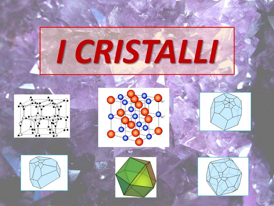 corpi geometrici I cristalli sono corpi geometrici e come tali possono essere studiati da un punto di vista puramente geometrico descrittivo senza tener conto degli atomi che li costituisco.