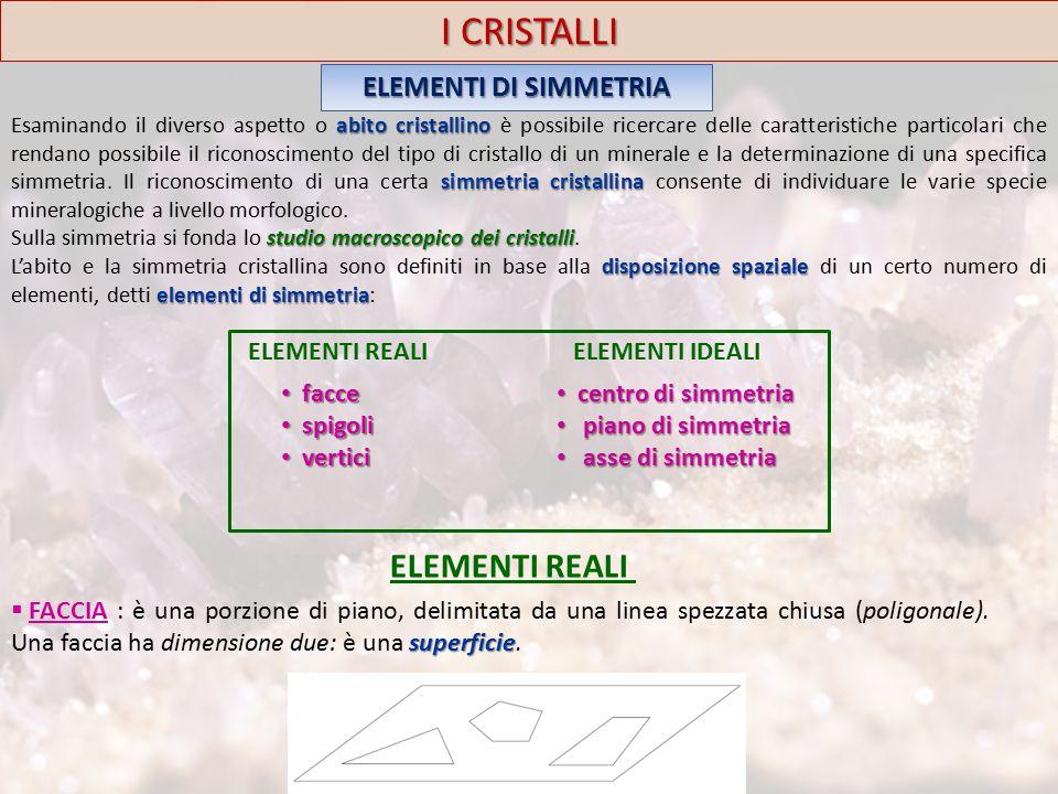 I CRISTALLI ELEMENTI DI SIMMETRIA abito cristallino simmetria cristallina Esaminando il diverso aspetto o abito cristallino è possibile ricercare delle caratteristiche particolari che rendano possibile il riconoscimento del tipo di cristallo di un minerale e la determinazione di una specifica simmetria.