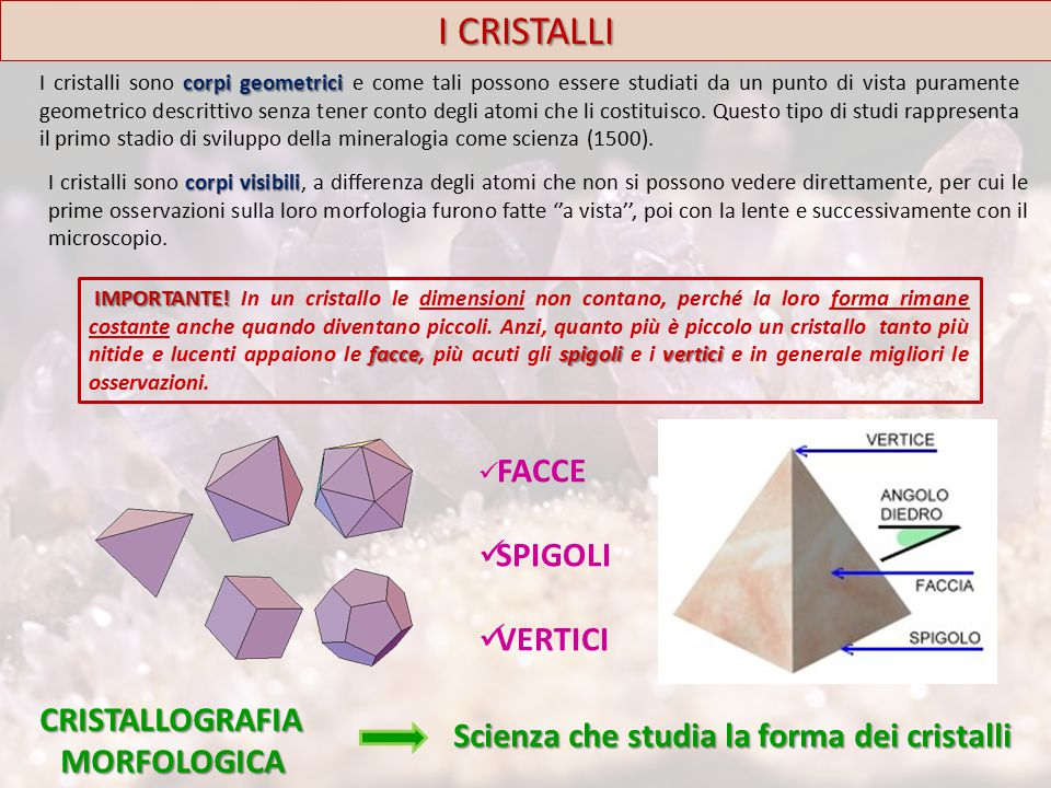I CRISTALLI  PIANO DI SIMMETRIA: è un piano ideale che divide il cristallo in due parti simmetriche, speculari l'una rispetto all'altra (come mano destra e mano sinistra) e che hanno lo stesso volume.