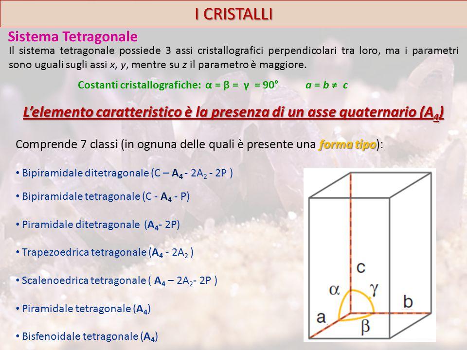 I CRISTALLI Sistema Tetragonale forma tipo Comprende 7 classi (in ognuna delle quali è presente una forma tipo): Bipiramidale ditetragonale (C – A 4 - 2A 2 - 2P ) Bipiramidale tetragonale (C - A 4 - P) Piramidale ditetragonale (A 4 - 2P) Trapezoedrica tetragonale (A 4 - 2A 2 ) Scalenoedrica tetragonale ( A 4 – 2A 2 - 2P ) Piramidale tetragonale (A 4 ) Bisfenoidale tetragonale (A 4 ) Costanti cristallografiche: α = β = γ = 90° a = b ≠ c L'elemento caratteristico è la presenza di un asse quaternario (A 4 ) Il sistema tetragonale possiede 3 assi cristallografici perpendicolari tra loro, ma i parametri sono uguali sugli assi x, y, mentre su z il parametro è maggiore.