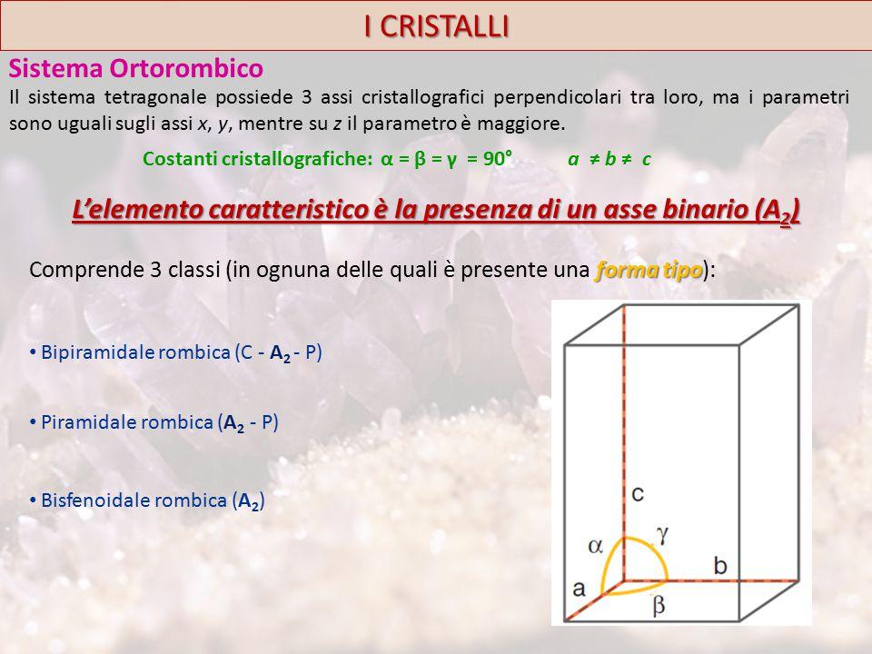 I CRISTALLI Sistema Ortorombico forma tipo Comprende 3 classi (in ognuna delle quali è presente una forma tipo): Bipiramidale rombica (C - A 2 - P) Piramidale rombica (A 2 - P) Bisfenoidale rombica (A 2 ) Costanti cristallografiche: α = β = γ = 90° a ≠ b ≠ c L'elemento caratteristico è la presenza di un asse binario (A 2 ) Il sistema tetragonale possiede 3 assi cristallografici perpendicolari tra loro, ma i parametri sono uguali sugli assi x, y, mentre su z il parametro è maggiore.