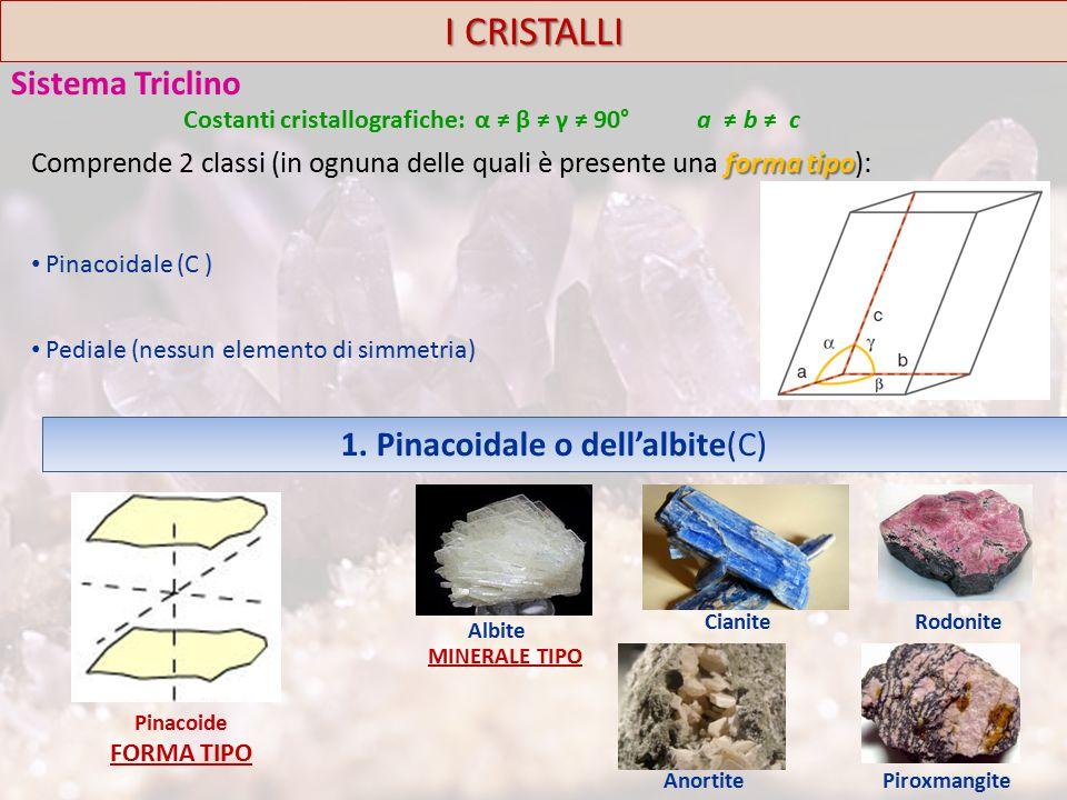 I CRISTALLI Sistema Triclino forma tipo Comprende 2 classi (in ognuna delle quali è presente una forma tipo): Pinacoidale (C ) Pediale (nessun elemento di simmetria) Costanti cristallografiche: α ≠ β ≠ γ ≠ 90° a ≠ b ≠ c 1.