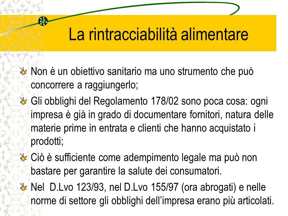 La rintracciabilità alimentare Non è un obiettivo sanitario ma uno strumento che può concorrere a raggiungerlo; Gli obblighi del Regolamento 178/02 so