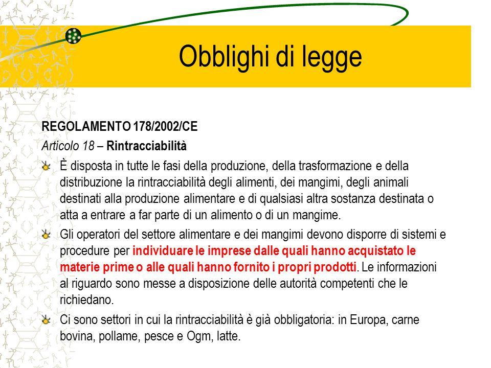 Obblighi di legge REGOLAMENTO 178/2002/CE Articolo 18 – Rintracciabilità È disposta in tutte le fasi della produzione, della trasformazione e della di