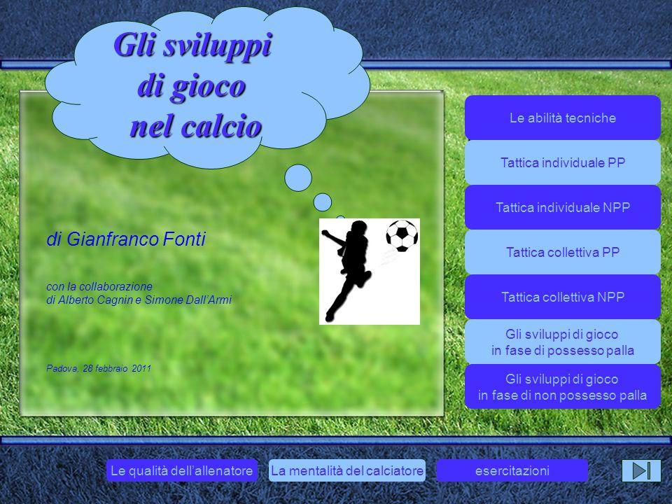 di Gianfranco Fonti con la collaborazione di Alberto Cagnin e Simone Dall'Armi Padova, 28 febbraio 2011 Gli sviluppi di gioco nel calcio Gli sviluppi