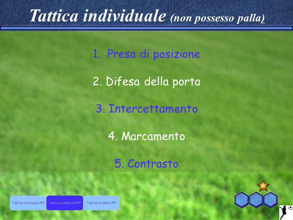 Tattica individuale (non possesso palla) 1.Presa di posizione 2. Difesa della porta 3. Intercettamento 4. Marcamento 5. Contrasto Tattica individuale