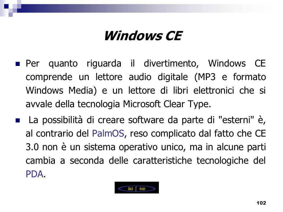 102 Windows CE Per quanto riguarda il divertimento, Windows CE comprende un lettore audio digitale (MP3 e formato Windows Media) e un lettore di libri elettronici che si avvale della tecnologia Microsoft Clear Type.
