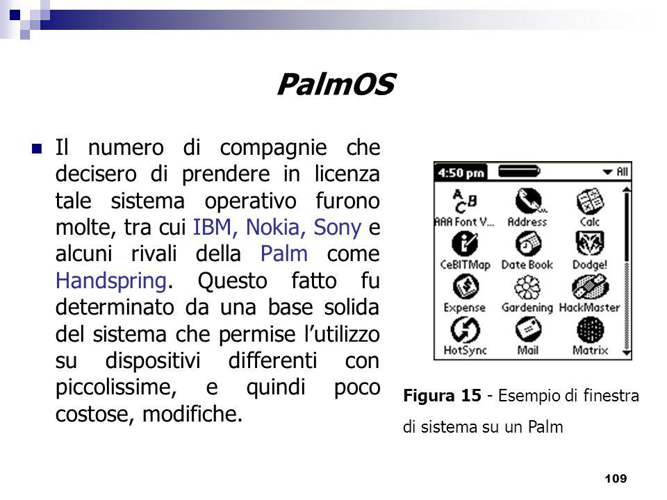 109 PalmOS Il numero di compagnie che decisero di prendere in licenza tale sistema operativo furono molte, tra cui IBM, Nokia, Sony e alcuni rivali della Palm come Handspring.