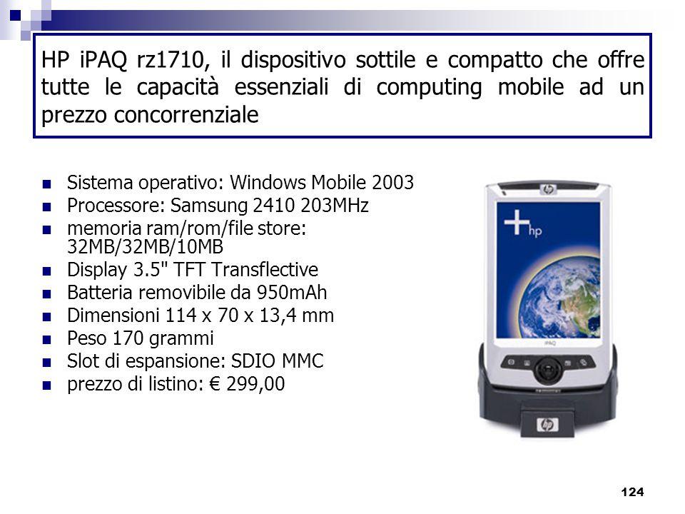 124 HP iPAQ rz1710, il dispositivo sottile e compatto che offre tutte le capacità essenziali di computing mobile ad un prezzo concorrenziale Sistema operativo: Windows Mobile 2003 Processore: Samsung 2410 203MHz memoria ram/rom/file store: 32MB/32MB/10MB Display 3.5 TFT Transflective Batteria removibile da 950mAh Dimensioni 114 x 70 x 13,4 mm Peso 170 grammi Slot di espansione: SDIO MMC prezzo di listino: € 299,00