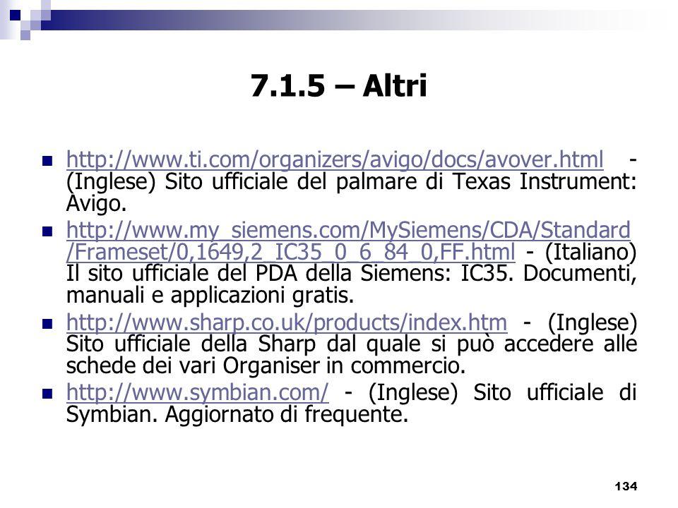 134 7.1.5 – Altri http://www.ti.com/organizers/avigo/docs/avover.html - (Inglese) Sito ufficiale del palmare di Texas Instrument: Avigo.
