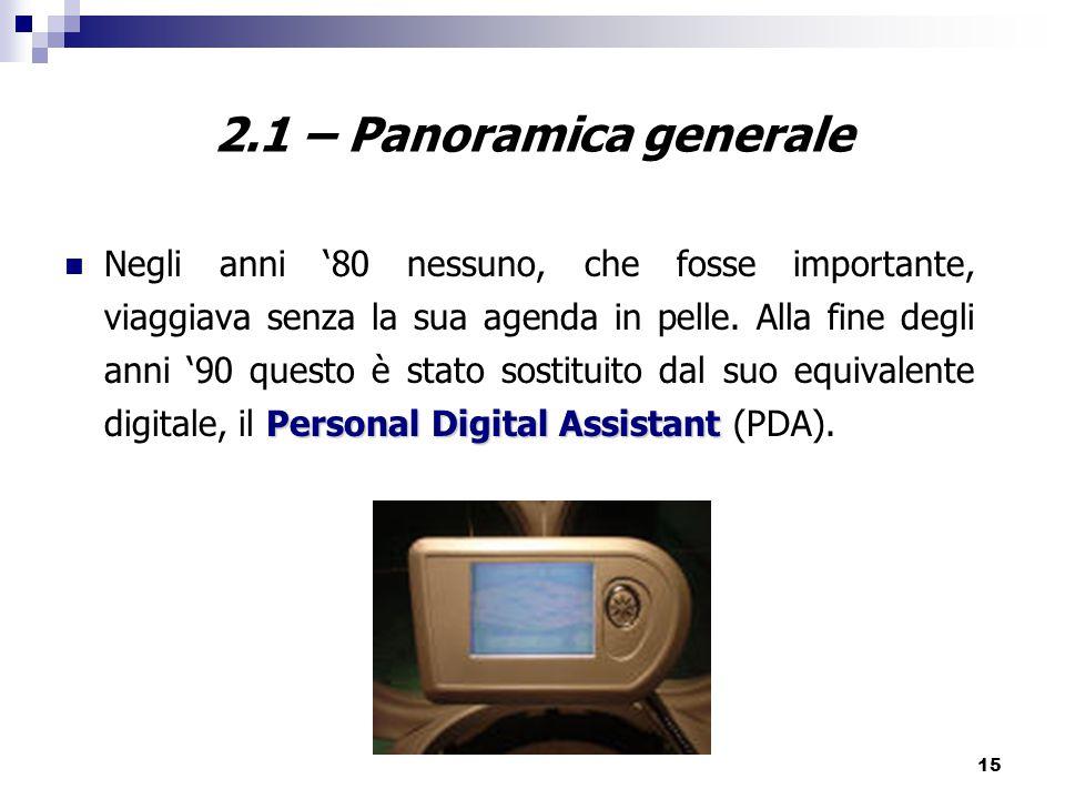 15 2.1 – Panoramica generale Personal Digital Assistant Negli anni '80 nessuno, che fosse importante, viaggiava senza la sua agenda in pelle.