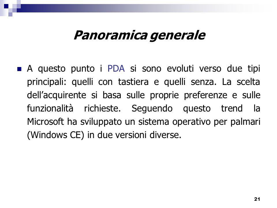 21 A questo punto i PDA si sono evoluti verso due tipi principali: quelli con tastiera e quelli senza.