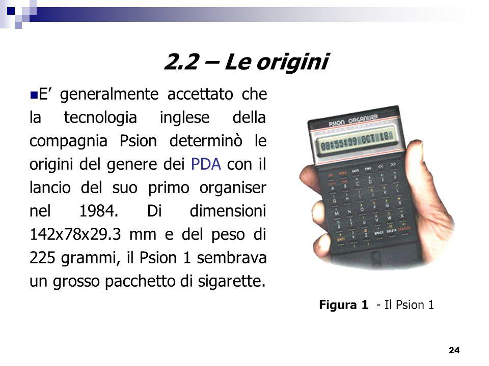 24 2.2 – Le origini E' generalmente accettato che la tecnologia inglese della compagnia Psion determinò le origini del genere dei PDA con il lancio del suo primo organiser nel 1984.