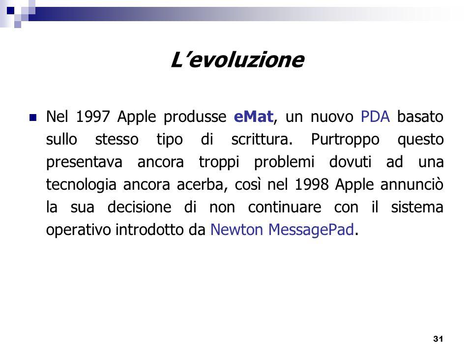 31 L'evoluzione Nel 1997 Apple produsse eMat, un nuovo PDA basato sullo stesso tipo di scrittura.