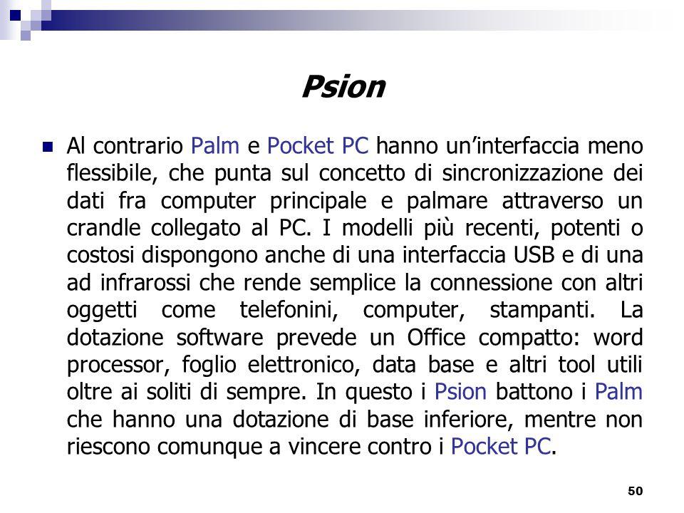50 Al contrario Palm e Pocket PC hanno un'interfaccia meno flessibile, che punta sul concetto di sincronizzazione dei dati fra computer principale e palmare attraverso un crandle collegato al PC.