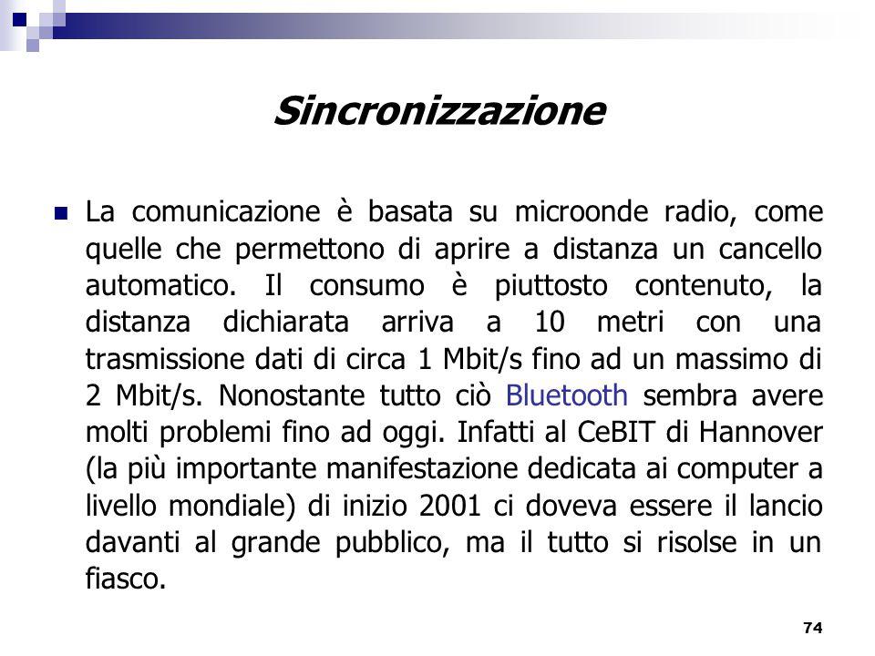 74 La comunicazione è basata su microonde radio, come quelle che permettono di aprire a distanza un cancello automatico.