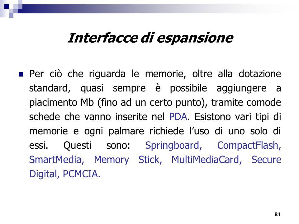 81 Interfacce di espansione Per ciò che riguarda le memorie, oltre alla dotazione standard, quasi sempre è possibile aggiungere a piacimento Mb (fino ad un certo punto), tramite comode schede che vanno inserite nel PDA.