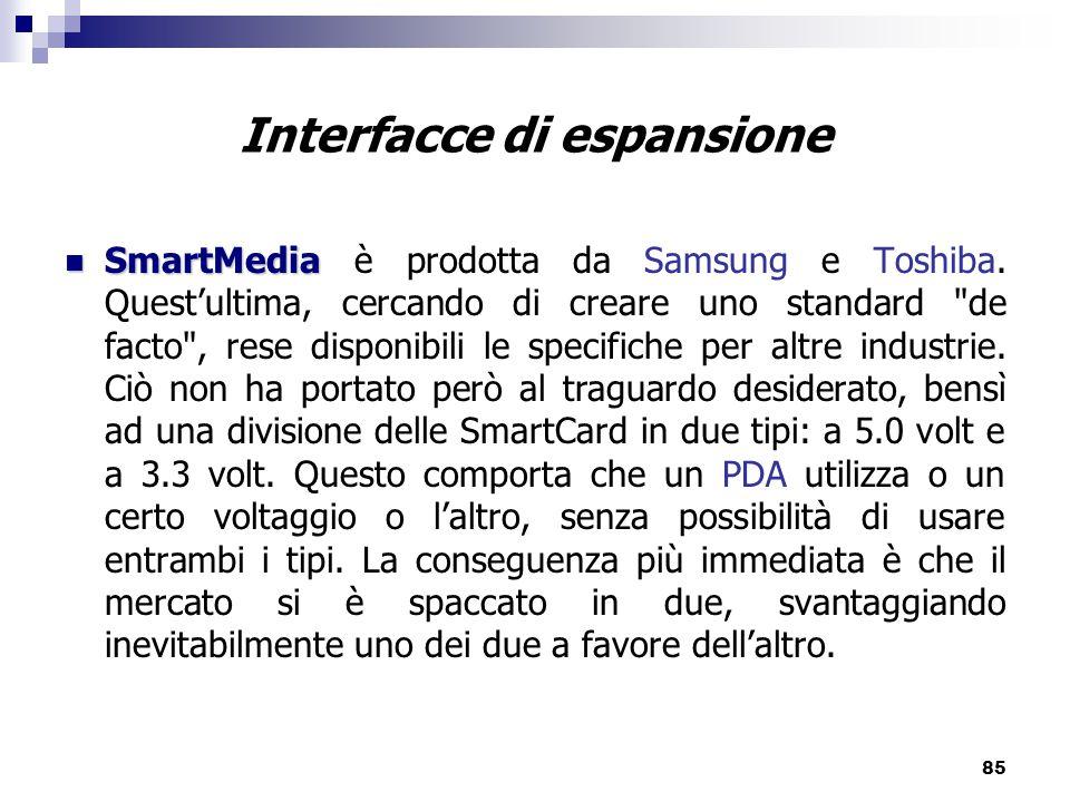 85 Interfacce di espansione SmartMedia SmartMedia è prodotta da Samsung e Toshiba.