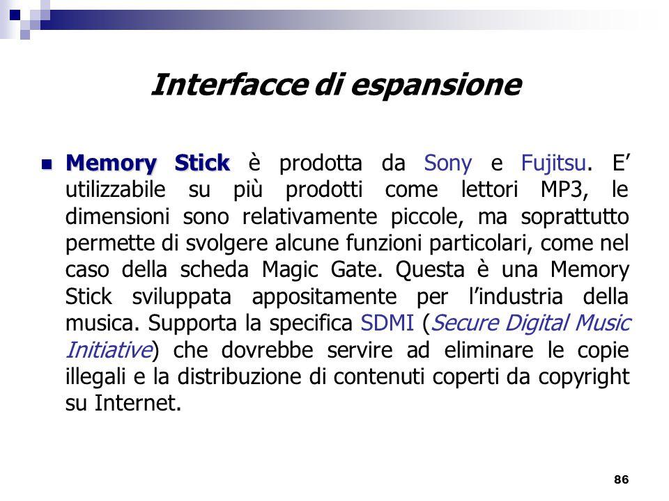 86 Interfacce di espansione Memory Stick Memory Stick è prodotta da Sony e Fujitsu.