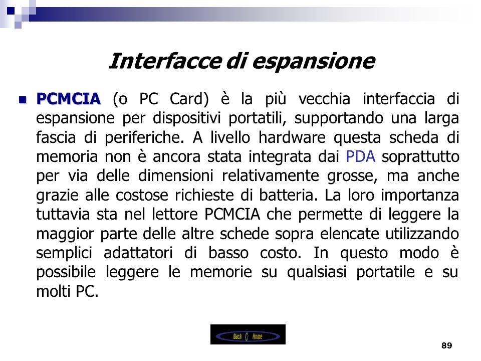 89 Interfacce di espansione PCMCIA PCMCIA (o PC Card) è la più vecchia interfaccia di espansione per dispositivi portatili, supportando una larga fascia di periferiche.