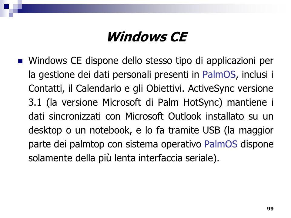 99 Windows CE dispone dello stesso tipo di applicazioni per la gestione dei dati personali presenti in PalmOS, inclusi i Contatti, il Calendario e gli Obiettivi.