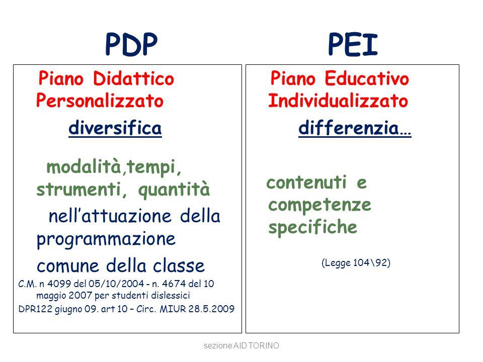 PDP PEI Piano Didattico Personalizzato diversifica modalità,tempi, strumenti, quantità nell'attuazione della programmazione comune della classe C.M. n
