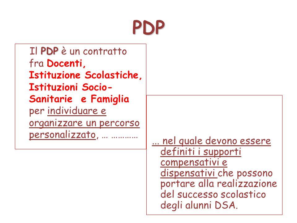 PDP PDP Il PDP è un contratto fra Docenti, Istituzione Scolastiche, Istituzioni Socio- Sanitarie e Famiglia per individuare e organizzare un percorso