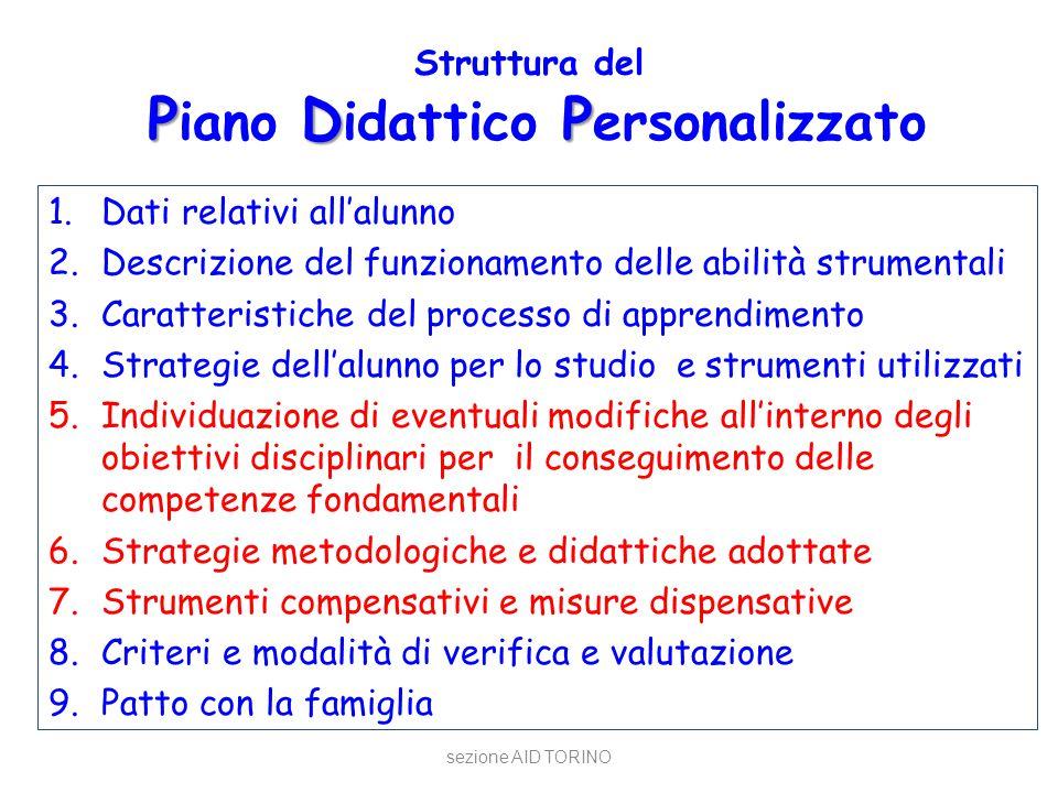 PDP Struttura del P iano D idattico P ersonalizzato 1.Dati relativi all'alunno 2.Descrizione del funzionamento delle abilità strumentali 3.Caratterist