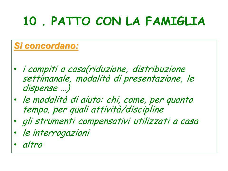 10. PATTO CON LA FAMIGLIA Si concordano: i compiti a casa(riduzione, distribuzione settimanale, modalità di presentazione, le dispense …) le modalità
