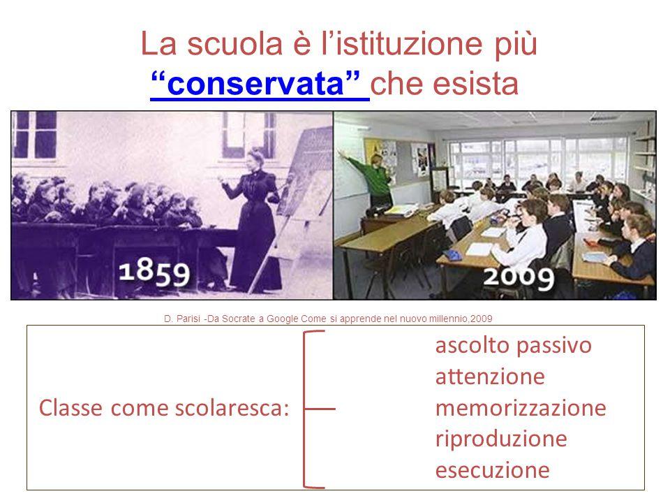 """La scuola è l'istituzione più """"conservata"""" che esista """"conservata"""" D. Parisi -Da Socrate a Google Come si apprende nel nuovo millennio,2009 ascolto pa"""