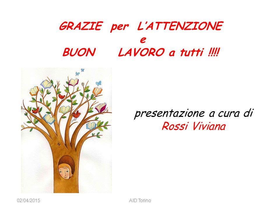 GRAZIE per L'ATTENZIONE e BUON LAVORO a tutti !!!! 02/04/2015AID Torino presentazione a cura di Rossi Viviana